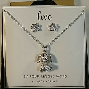 Jewelry - NIB Sparkling Wiggling Dog Necklace with Earrings